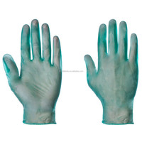 Green disposable vinyl powder-free exam gloves