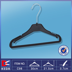 Sale black PS small plastic clothes hanger with bottom bar for kids C98