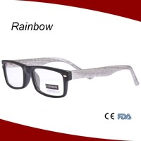 Wooden eyewear plastic reading glasses with wooden finishing temple arms