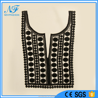 Dresses or Blouses black front and back neck design of kurtis embroidery lace neck trim collar