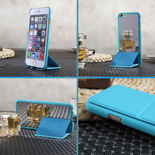 Soft Touch PU Leather with fashion electroplating mirror behind back cover Case Cover For IPhone 6