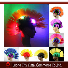 NEW Light Up LED Mohawk Wig Red White Blue Patriotic Wig Punk Rock Cosplay Wig