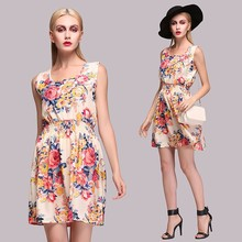 Women Fashion Casual Bohemian Sleeveless Floral Printed adult Lady Girls Party Dress SV015226