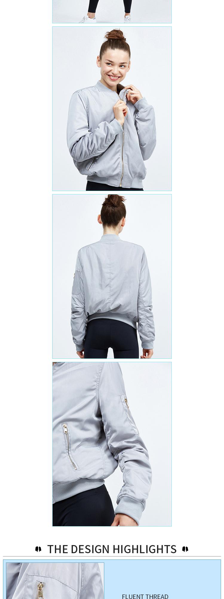 Bomber Custom Gym Hooded Outdoor Sport Polyester Zip Yoga ...