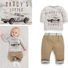 Europe America baby clothes fashion printed long sleeve baby boy clothing sets(M20642A)