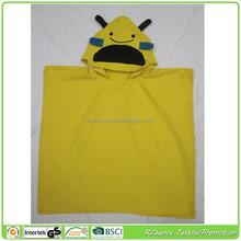 lovely baby bath suede hooded towel,custom design sudede poncho towel