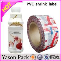 Yason plastic bottle shrink sleeve label shrink film printing manufactured in china custom made pvc bottle shrink wrap sleeves m