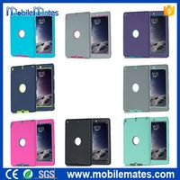 New Arrival Detachable Hybrid Silicone+PC Back Case for iPad Air, for iPad Air Back Case