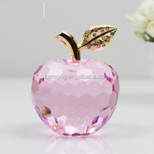 simple design decoration galss clear crystal apples for wedding centerpiece