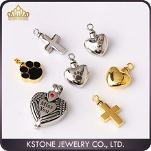 KSTONE True love heart shape ash pendant wholesale fashion gift occasion stainless steel murano glass pet urn pendant