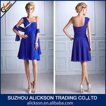 Nice-looking A Line One Shoulder Ruffle Chiffon Young Royal Blue Cocktail Dress