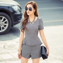 8064 # big houndstooth retro small fragrant wind piece fitted (shirt + shorts)