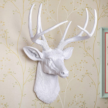 Home Decoration Resin Artificial White Deer Head