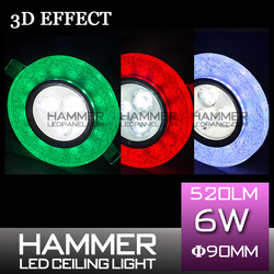 Multi color new design crystal high quality office small 3d mode ultra slim small hidden smd2835 6w led lamp bulb panel lighting