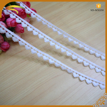 white beautiful and fashionable cotton eyelet embroidery lace trim for wedding dresses