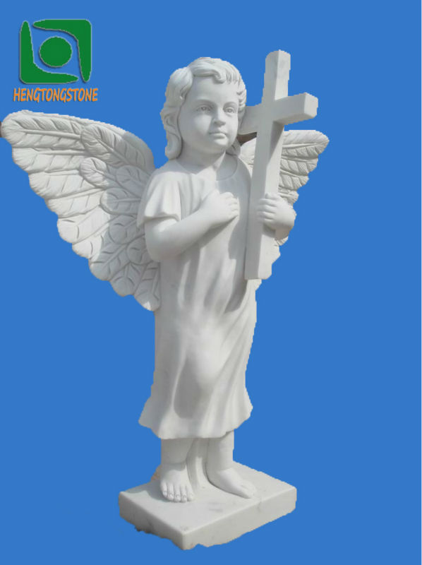 L pida de m rmol blanco con estatua querub n - Marmol blanco precio ...