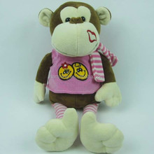 25cm long hand long leg plush monkey lovely girl monkey with pink clothing with pink scarf