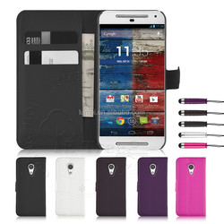 PU Leather Stand Wallet Flip Case Cover for Motorola G2