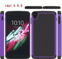 Hybrid combo case for Alcatel One Touch Idol 3 5.5 with ball textured, for Alcatel One Touch Idol 3 5.5 hard case
