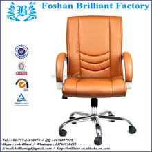 Medium Back Aluminum Alloy Armrest Comfortable Leather Conference or Guest Chair with wheel BF-8923A-2