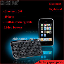 Rechargeable Li-ion battery mini bluetooth keyboard for iPad / iPhone