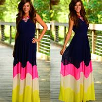 MS71264L American ladies elastic waist chiffon long dress designs fashion contrast color dresses