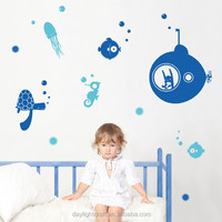 2015 UFO nursery decal transparent PVC children wall sticker