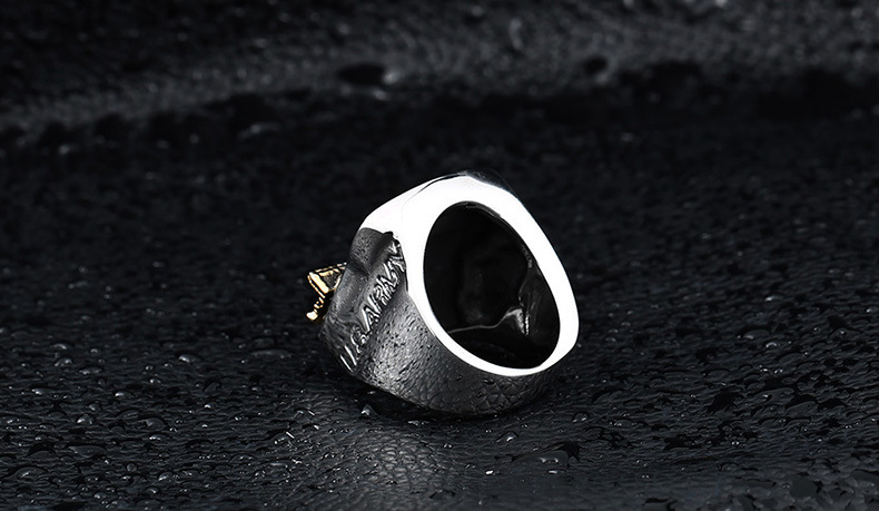 Retro Antique Design Titanium Steel Light Gold Plated Owl Animal 101 Number Finger Ring for Men and Women