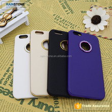 Metal aluminum case for iPhone 6 with leather back cover, diamond circle mobile phone case