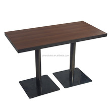 wooden design table /Any home furniture Dining Table/wood top with two metal leg dining table