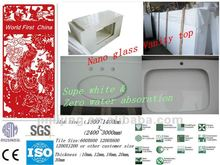 Free maintance easy clean super white nano glass granite vanity top
