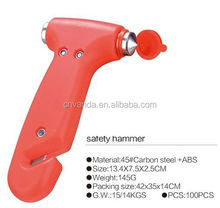 multifunctional auto car emergency life safety hammer with flashlight and beacon