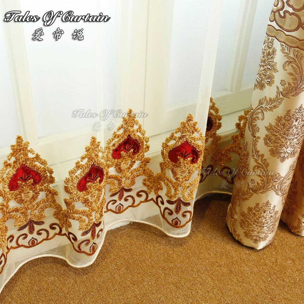 Elegante woonkamer gordijn moderne bloemen ontwerp met organza ...