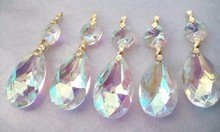 6.28 -3 5 Asfour Crystal Chandelier Prisms 38mm Teardrop AB Iridescent Ornaments