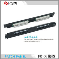 """LY-PP5-04-A 19""""1U UTP Cat5e Patch Panel 16 Ports Krone&110 Dual IDC Patch Panel"""