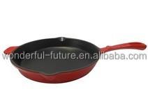 cast iron enamel round frying pan