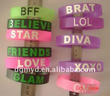 Promotion beautiful silicone rubber bracelets friendship with printing