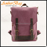 Vintage canvas backpack,laptop bag with genuine leather AB1608
