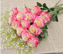 FLS012-3 import china fabric artificial flowers rose with long stem for wholesale decorating wedding
