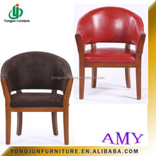 2015 Year Wooden Red Pu Leather Tub Chair,Tub Sofa,Single Seat Leather Sofa Chair and solid wood design wooden dining chair