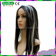 Long Straight Synthetic White Black Halloween Party Witch Wig