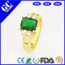 Emerald crystal design of copper alloy jewelry ornaments, high quality ring