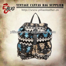2014 New design fashion canvas backpack college girl