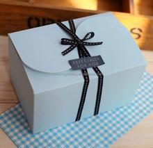 Luxury Biodegradable folding kraft paper gift box with ribbon