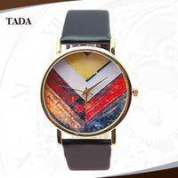 hot sale geneva style cheap price leather hand Geometry design face quartz women's watch