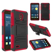 Multi Dual Layer Rugged Armor Tank Holster Belt Hybrid Stand Cover Phone Case for Alcatel One Touch Conquest 7046T