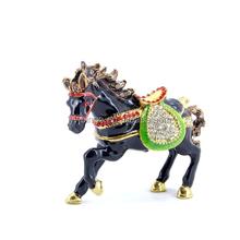 Venda quente forma cavalo esmalte de cristal presentes de natal bulk cheap caixa de jóias de metal