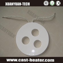 Round ceramic infrared heater with 3 holes