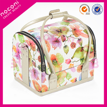 2015 NOCONI new professional PU leather cosmetic case with double metal Zipper