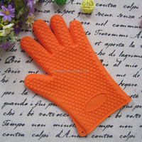 high quality hot selling heat resistant non-slip orange silicone BBQ oven mitt